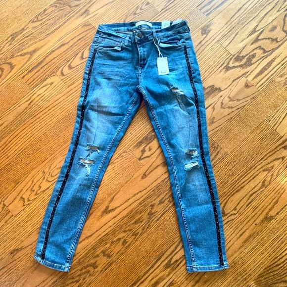 Zara Sparkle Side Stripe Blue Skinny Jeans